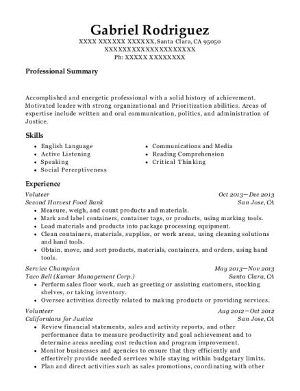 food bank resume