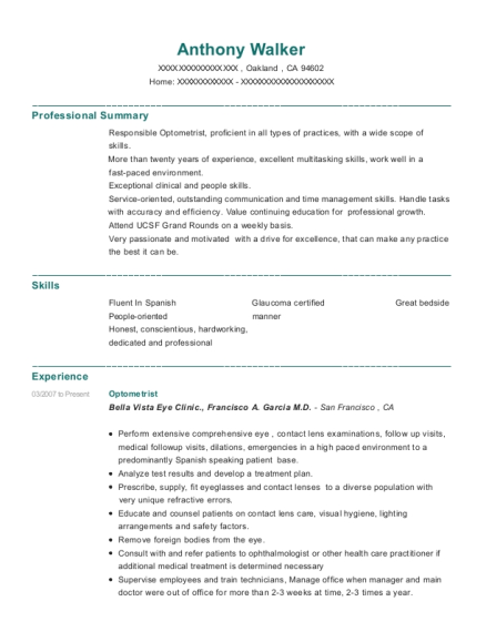self employed optometrist resume sample