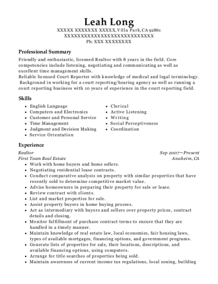 Leah Long  Court Reporter Resume