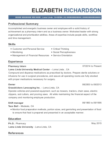 best pharmacy intern resumes resumehelp