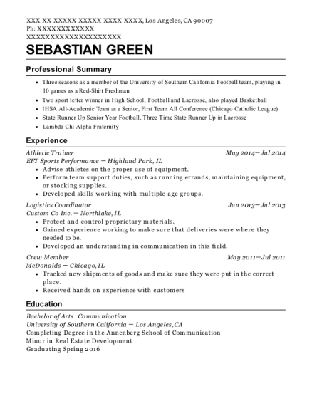 view resume athletic trainer - Athletic Trainer Resume