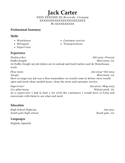 view resume dockworker