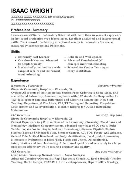 best cls generalist resumes resumehelp