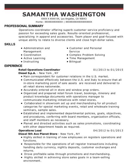Best Retail Operations Coordinator Resumes | ResumeHelp