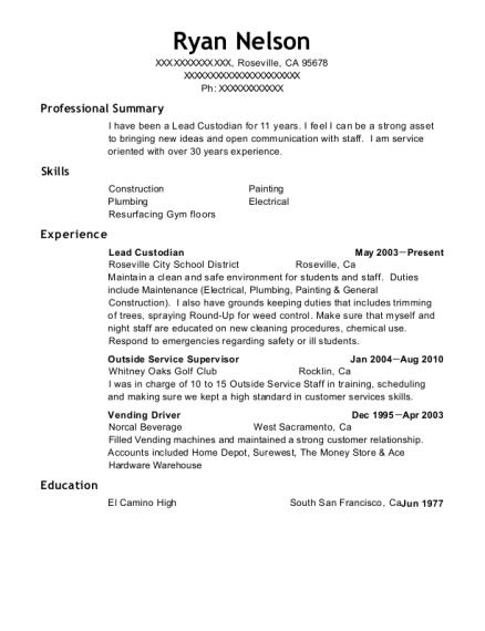 Custodian Resume | Best Lead Custodian Resumes Resumehelp