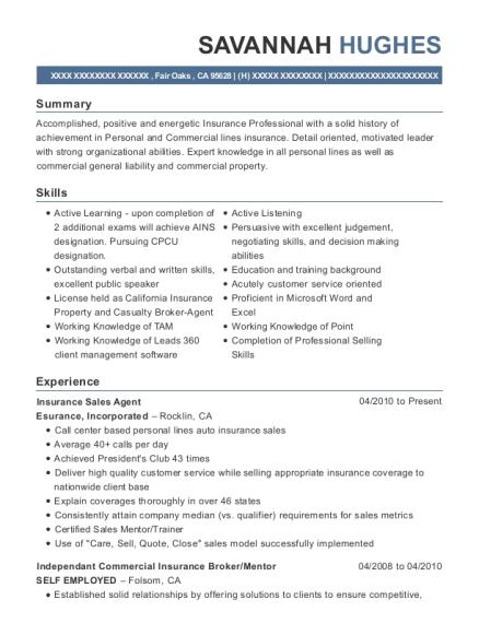 farmers insurance company insurance sales agent resume