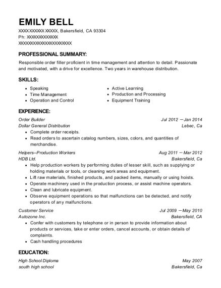 Best Helpers Production Workers Resumes | ResumeHelp