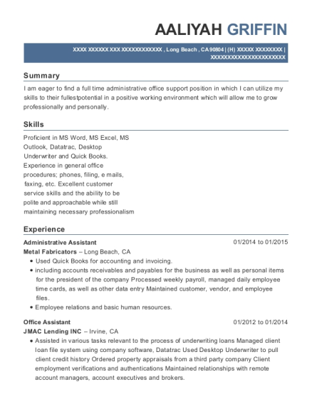 aaliyah griffin - Administrative Specialist Resume