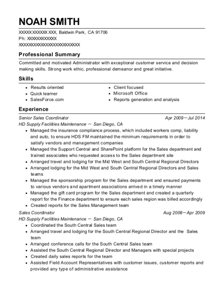 best senior sales coordinator resumes resumehelp