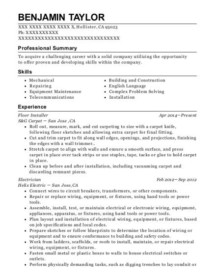Amazing View Resume. Floor Installer
