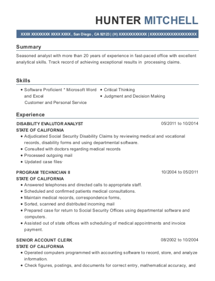State Of California Disability Evalutor Analyst Resume