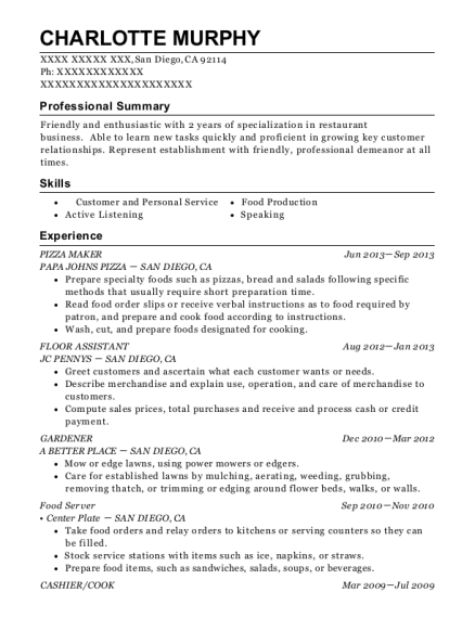 charlotte murphy - Pizza Maker Resume