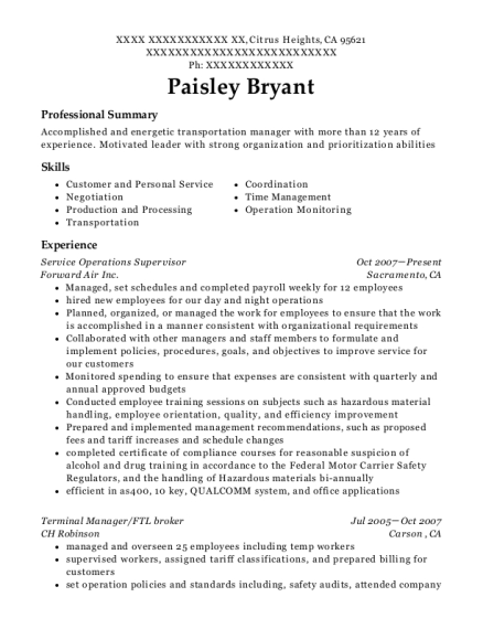 View Resume Service Operations Supervisor