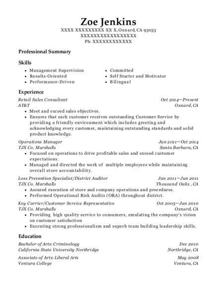 at u0026t retail sales consultant resume sample
