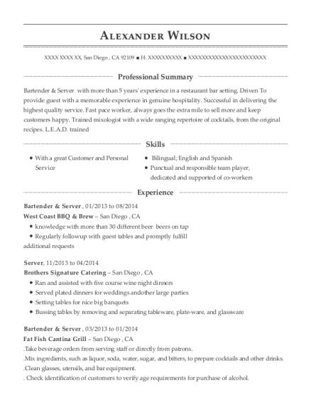 Best Bartender & Server Resumes | ResumeHelp
