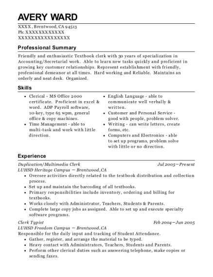 avery ward - Typist Resume