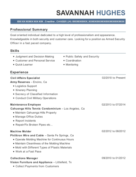 Army Reserves Civil Affairs Specialist Resume Sample