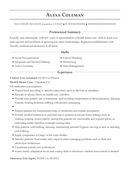 Best Critical Care Assistant Resumes | ResumeHelp