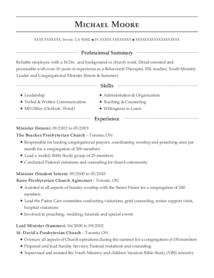 view resume - Youth Pastor Resume
