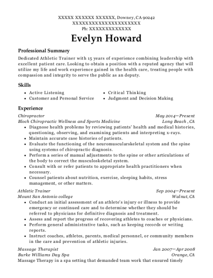 evelyn howard - Athletic Trainer Resume