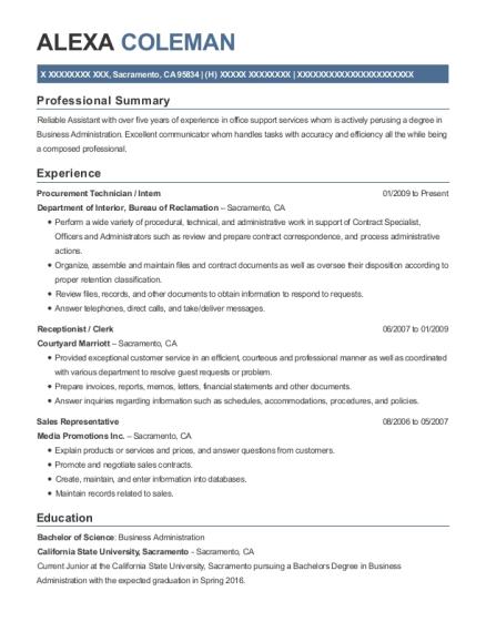 Department Of Interior Procurement Technician Resume Sample