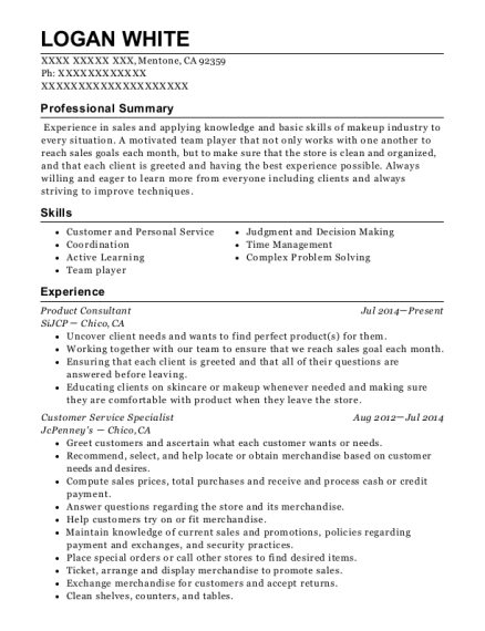 Sephora Inside Jcpenney Product Consultant Resume Sample