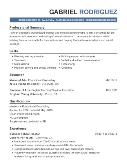 Best Summer School Teacher Resumes | ResumeHelp