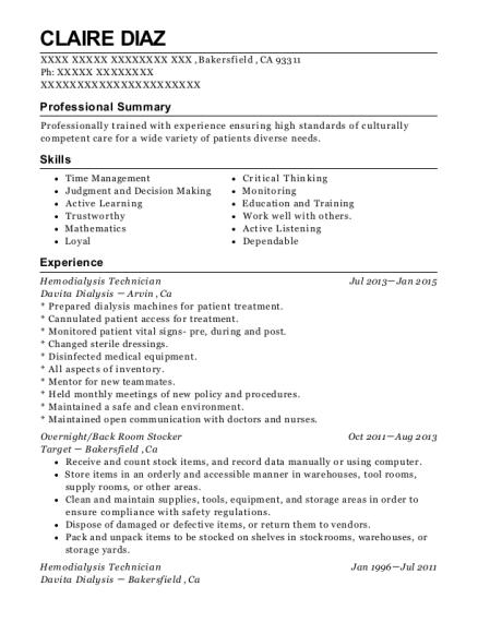 Hemodialysis Technician , Customer Service Manager. Customize Resume · View  Resume