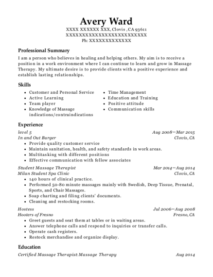 avery ward - Massage Therapist Resume Sample