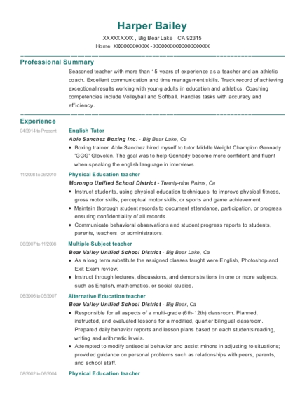 physical education teacher resumes