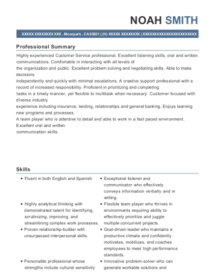 wells fargo business banking specialist resume sample moorpark
