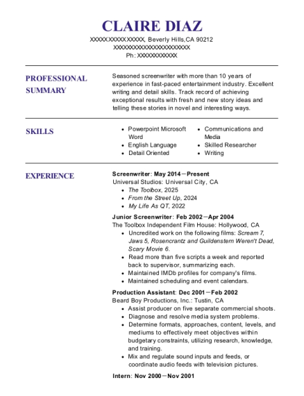 self employed screenwriter resume sample miami florida resumehelp