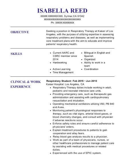 respiratory therapist student resume