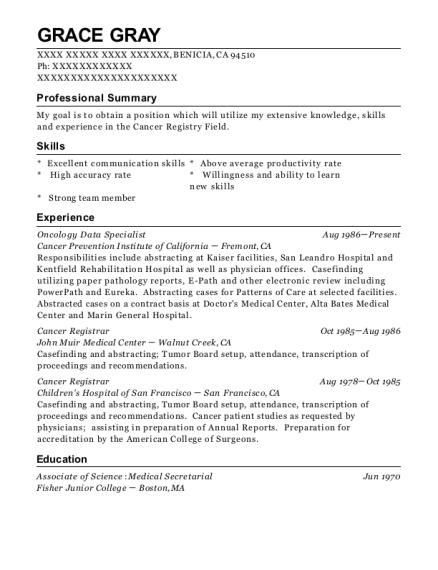 university of colorado hospital cancer registrar resume sample