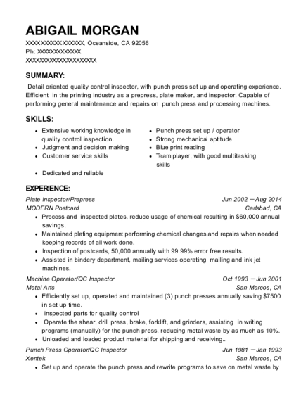 punch press operator resume