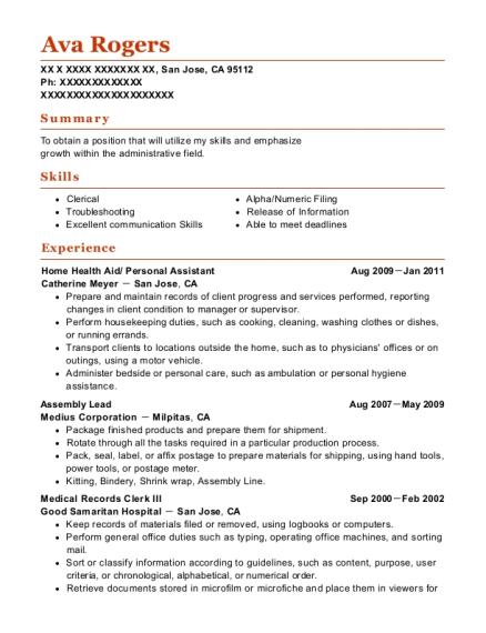 Best Home Health Aid/ Personal Assistant Resumes | ResumeHelp