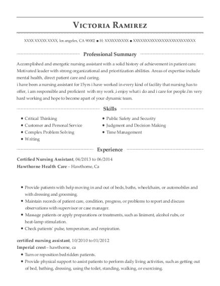 view resume certified nursing assistant