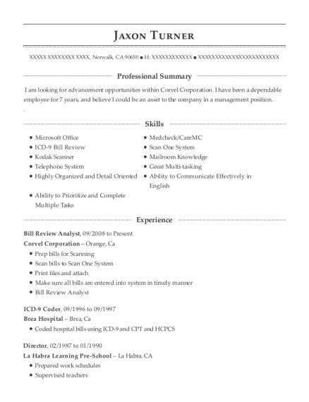 corvel corporation bill review analyst resume sample
