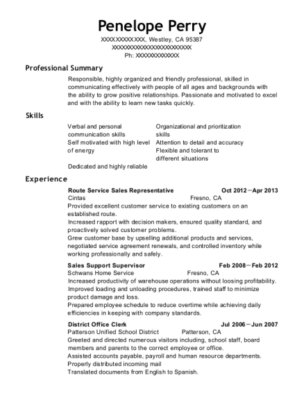 cintas route service sales representative resume sample westley