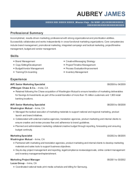 Futurity First Insurance Group Marketing Project Manager Resume