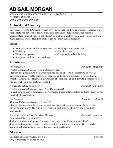 View Resume. Fee Appraiser