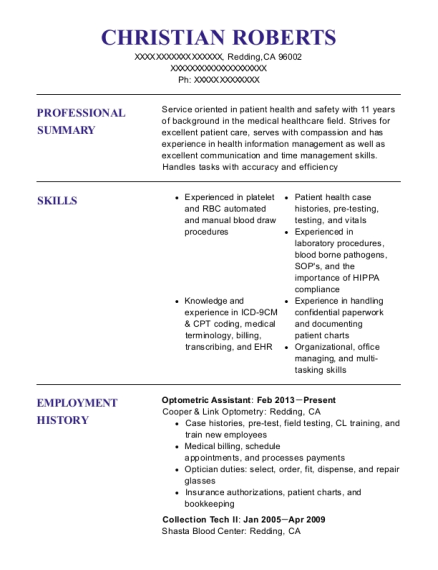 Best Optometric Assistant Resumes | ResumeHelp