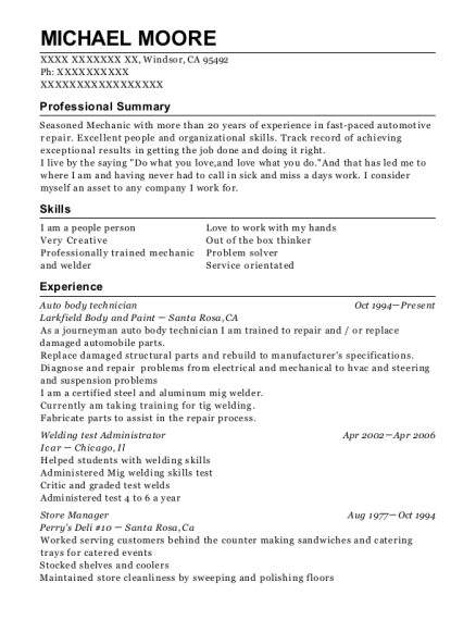 Michael Moore  Auto Body Technician Resume