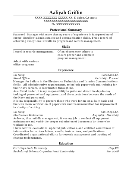 Best Naval Officer Resumes | ResumeHelp