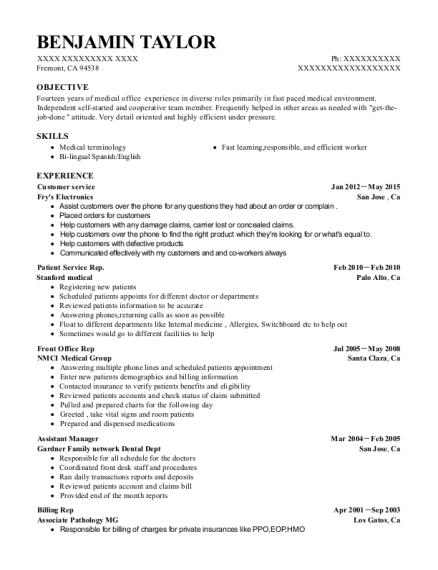 best front office rep resumes resumehelp