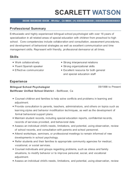 view resume - School Psychologist Resume
