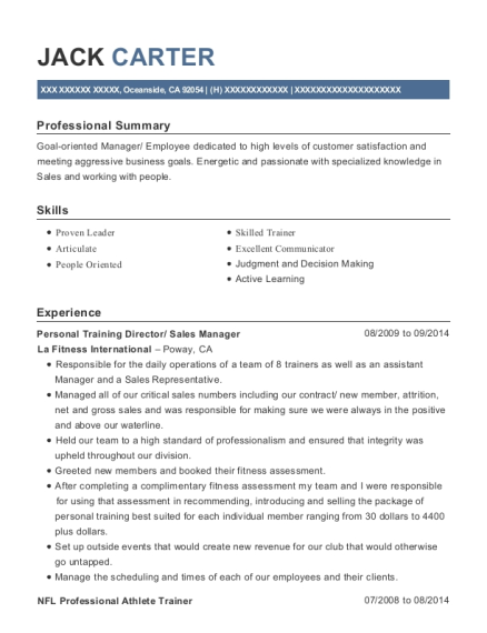 la fitness personal training director resume sample