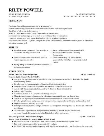 Great View Resume. Special Education Program Specialist