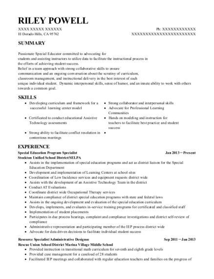 Attractive View Resume. Special Education Program Specialist