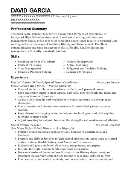 david garcia - Resume Of Social Science Teacher